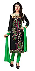 Women Icon Presents Embroidered Chanderi Dress Material(Black,Green)