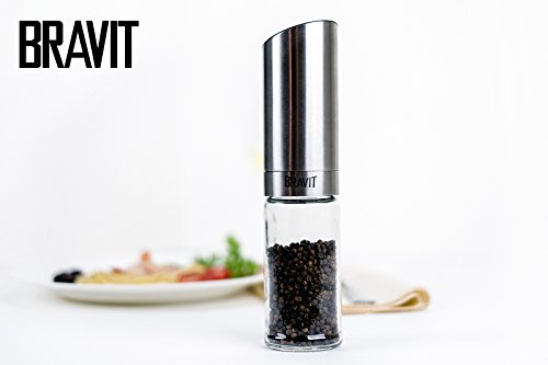 BRAVIT Automatic Gravity Operated Salt Mill or Pepper Grinder with Stainless Steel Body and Ceramic Grinder Mechanism