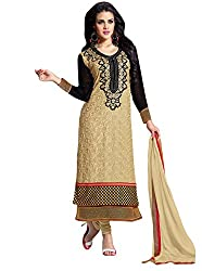 TEXCLUSIVE STRAIGHT FIT SEMI-STITCHED DRESS MATERIAL WITH HAND WORK