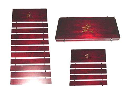 Martial Arts Taekwondo Karate Judo 10 Red Wood Belt Rack Display Engraved Gold (Red Belt Martial Arts compare prices)
