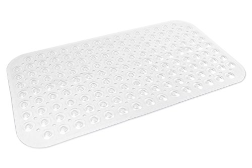 DII Non-Slip, Anti-Bacterial, Allergen-Free Suction Bath Mat  For Shower, and Bathtub, Medium - Clear