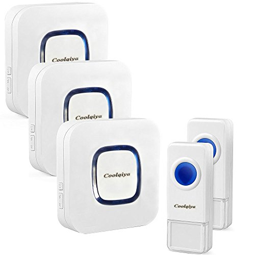 Coolqiya Wireless Doorbell with 2 Remote Button and 3 Plugin Receiver, No Batteries Required for Receiver over 50 Chimes, White (Re 1000 Range Extender compare prices)