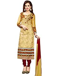 Alethia Enterprise Cream Colored Glace Cotton Embroidered Party Wear Semi-Stitched Salwar Suit-ALI377DL9008