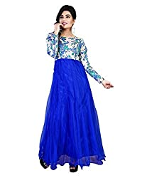 My online Shoppy Women's Net Semi Stitched Dress Material (My online Shoppy_124_Blue_Free Size)