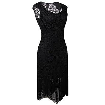 Vijiv Vintage 1920s Inspired Embellished Beaded Lace Cocktail Flapper Dress