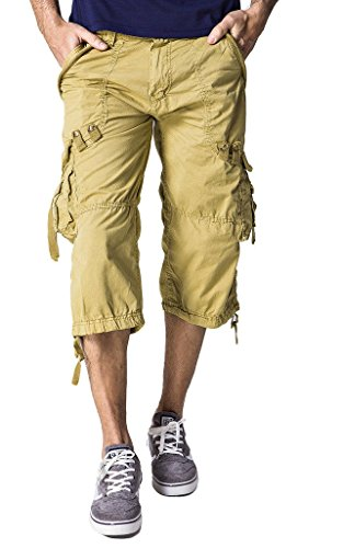 ZSHOW-Homme-Pantalons-Shorts-de-Cargo-Court-Multi-Pockets-Coton-Casual-Slim-Uni-Dt