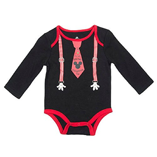 "Disney Baby Boys ""My 1st Mickey Christmas Tie"" Dress Up Bodysuit Outfit"