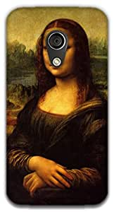 The Racoon Grip printed designer hard back mobile phone case cover for Moto G 2nd Gen. (Mona Lisa)