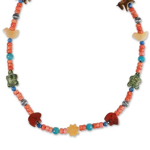 Sterling Silver Multi-Gemstone Color Critter Beaded Necklace