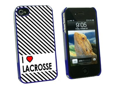 Graphics and More I Love Heart Lacrosse Snap-On Hard Protective Case for Apple iPhone 4/4S - Non-Retail Packaging - Blue