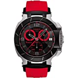 Tissot Men's T0484172705702 T-Race Two-Tone Stainless Steel Watch with Red Rubber Band (Color: Red)
