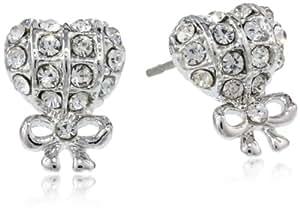 "Betsey Johnson ""Crystal Rhodium"" Crystal Heart and Bow Stud Earrings"