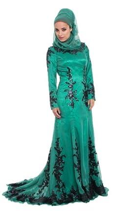 Womens Sequined Silk Emerald Green Islamic Formal Long Dress at Amazon