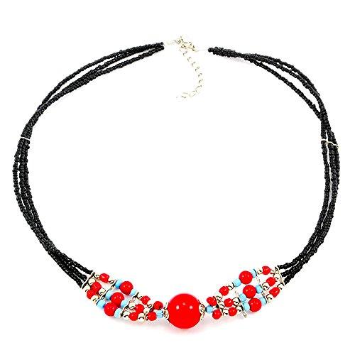 Collano multifili Gioiello etnico Perle Rosso Méline Regalo Donna a piccolo prezzo