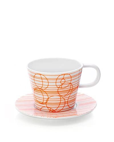 L'Abitare Teetasse mit Untertasse Fruit Apricot May orange/weiß