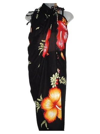 Hawaiian Long Black Sarong w/ Orange & Red Hibiscus at