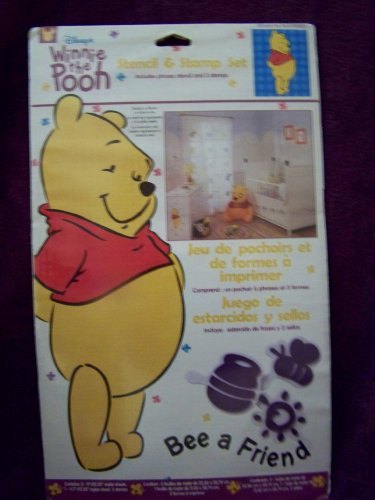 1 X Winnie the Pooh Bee a Friend Stencil & Stamp Set for Nursery Child Room Decor Walls Furniture - 1