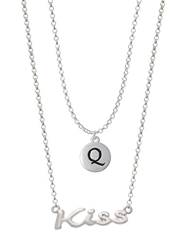 Capital Letter - Q - Pebble Disc - Layered Kiss Necklace