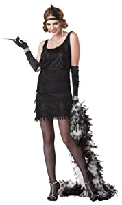 California Costumes Women's Fashion Flapper Costume,Black,X-Large