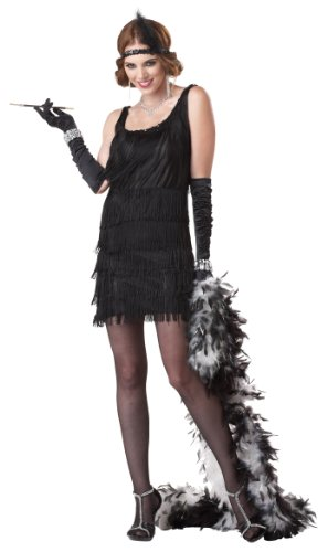 California Costumes Women's Fashion Flapper Costume,Black,Large