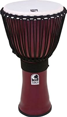 Toca Freestyle II Rope Tuned 14-Inch Djembe with Bag - Dark Red Finish