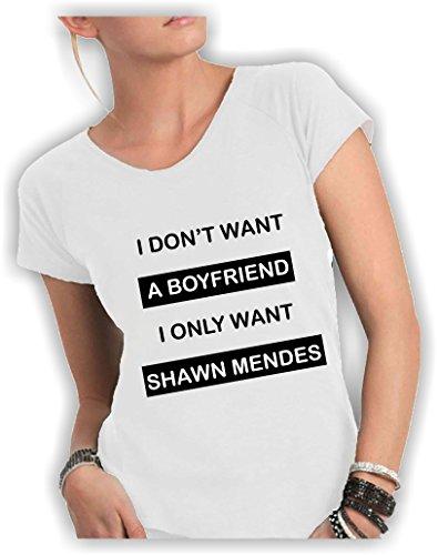 T-shirt DONNA cotone fiammato Scollo ampio a taglio vivo - I DON'T WANT A BOYFRIEND I ONLY WANT SHAWN MENDES divertenti scritte frasi humor vip cool MADE IN ITALY ... (M, BIANCO)