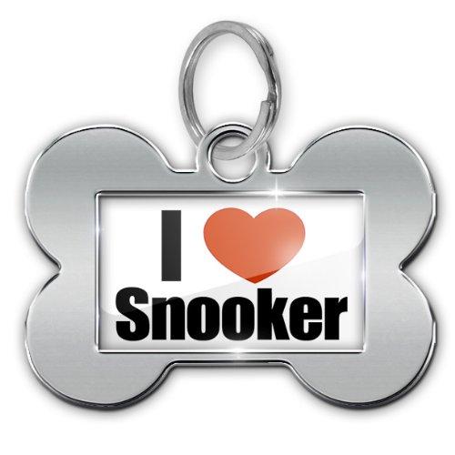 "Dog Bone Pet ID Tag ""I Love Snooker"" – Neonblond"