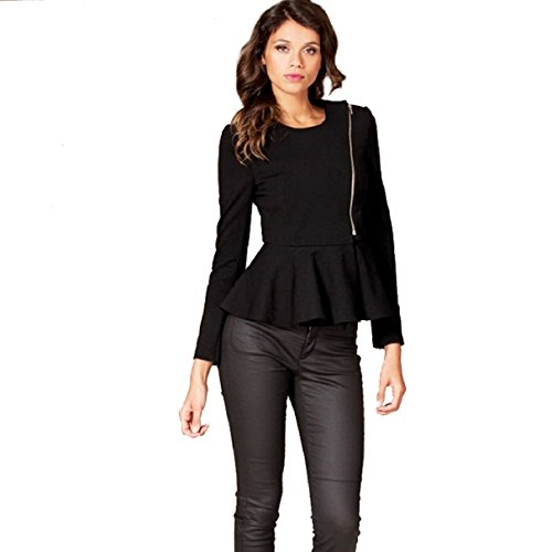 Aokdis Women Slim Fit Suit Coat Ruffle Peplum Frill Blazer Jacket Zipper (Xxl, Black)