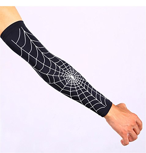 [MagicMen Bike Cycling Hiking Golf Sleeves Basketball Barcer Compression Fit Cooling Arm Sleeves UV Protection Arm] (Super Ray Costume)