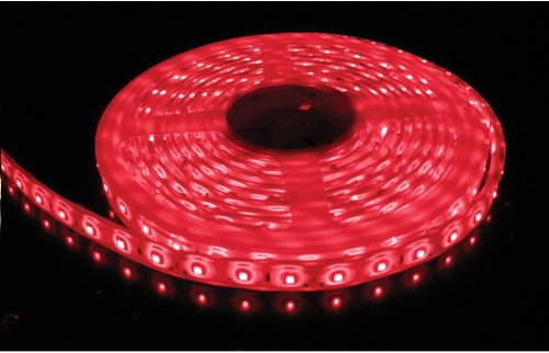 Flexible Waterproof Lighting Strip LED Ribbon 5 Meter or 16.4 Ft 12v for All your Decorations (Red) with Power Adapter included