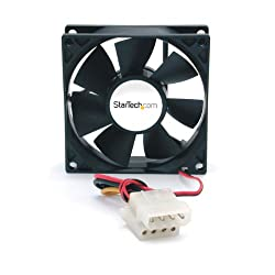StarTech.com 80x25mm Ever Lubricate Bearing PC Computer Case Fan with LP4 Connector FANBOXSL (Black)