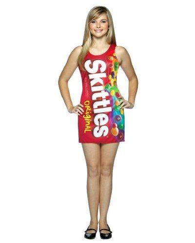 Rasta Imposta Skittles Tank Dress Tween/Teen Costume Red Teen (13-16) (Teen And Tween Skittles Costume)