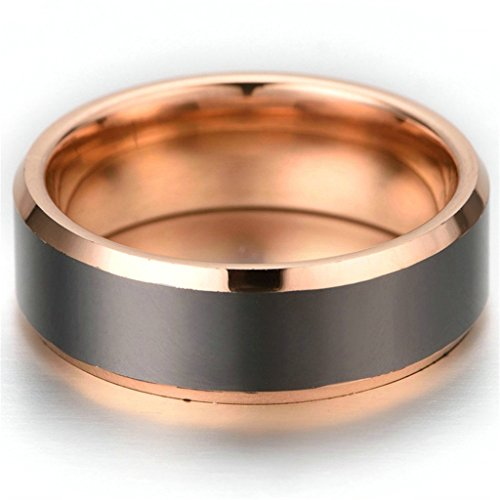 Stainless Steel Ring for Men, Band Ring Ring Gothic Rose Gold Black Band 8MM Size 10 Epinki
