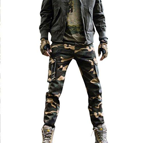 Baymate Uomo Cargo Pantaloni Confortevole Stile Casual Lavata Larghi Pants Camuffare 34