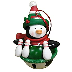 Jingle Bell Penguin with Bowling Pins Ornament