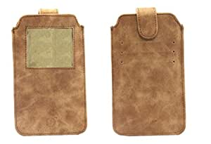 Jo Jo A10 Classic Leather Carry Case Pouch Wallet S View For Gionee GN715 Dark Tan