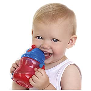 Nuby 2 Handle Flip n' Sip Straw Cup, 8 Ounce, 12 Months Plus, Colors May Vary