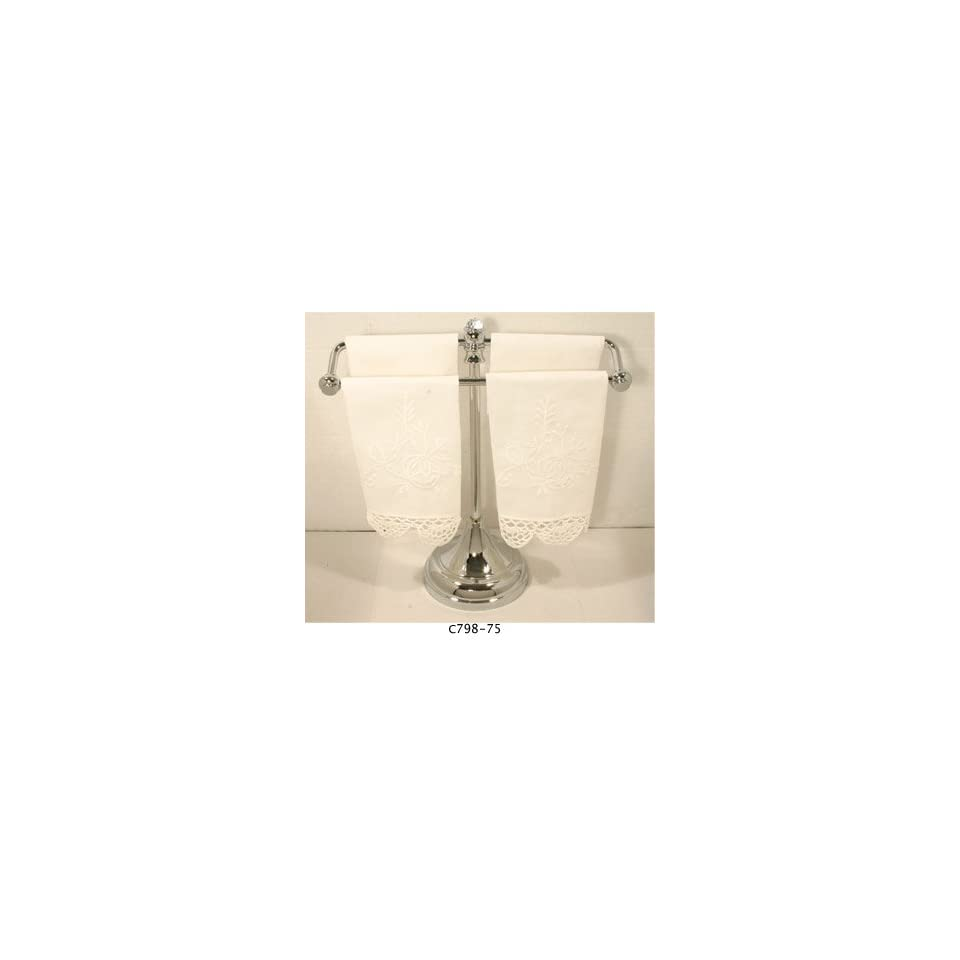 Paul Decorative C798 75PC Polished Chrome Bathroom Accessories Free Standing Hand Towel with Crystal Accents
