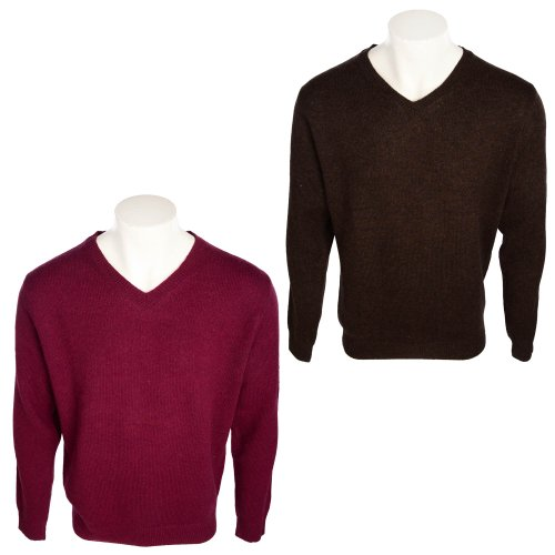Harbour Collection Men's 2 Pack Burgundy & Chocolate 100% Lambswool Jumpers in Size Large
