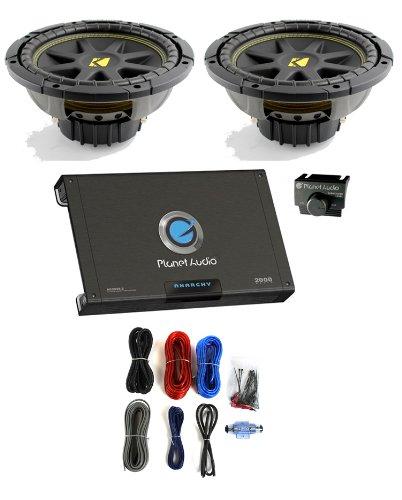 "2) Kicker 10C104 Comp 10"" 600 Watt 4 Ohm Car Subwoofers Combo +Amplifier+Amp Kit"
