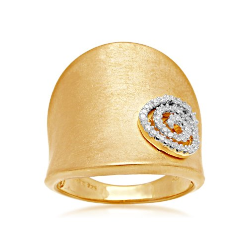 18k Gold Plated Sterling Silver Swirl Tag Diamond Ring (1/6 cttw, I-J Color, I2-I3 Clarity), Size 8
