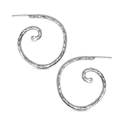Recycled Silver Collection Swirl Hoop Earrings
