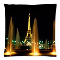 "Paris Eiffel Tower Beautiful Night View Custom Zippered Pillow Cushion Case Throw Pillow Covers 18""x18""(two sides) from MayLucky"