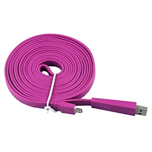 Flat Micro USB Data Charge Sync Cable 3M for LG Optimus L7 P700 - Purple