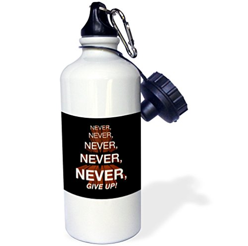 3dRose wb_172015_1 Winston Churchill Motivational Quote Never, Never, Never, Give Up Sports Water Bottle, 21 oz, White (Motivational Sports Bottle compare prices)