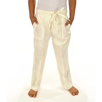 Ivory linen drawstring pants for boys.