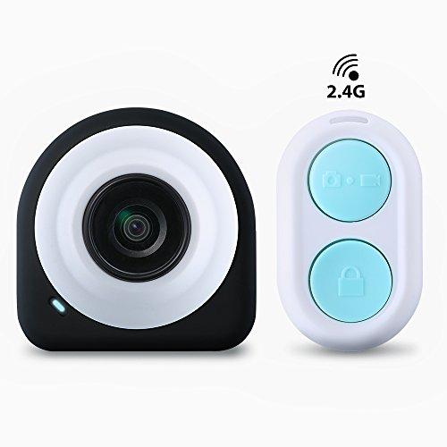 VicTsing Action Cam WIFI Mini Fotocamera Videocamera Tachigrafo con Sensore di immagine CMOS da 8 Megapixel, Obiettivo Grandangolare di 145 Gradi, 2.4G Telecomando + APP Gratuito in Modulo WiFi + Piastre Magnetiche per Chi Ama l'Autoscatto e Fotografia - Nero