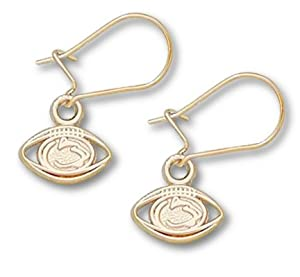 Penn State Nittany Lions 1 4 Lion Head and Pierced Football Dangle Earrings - 14KT... by Logo Art
