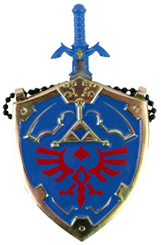 Mini Hylian Shield & Links Master Sword Legend of Zelda Necklace (Blue Zelda Necklace)