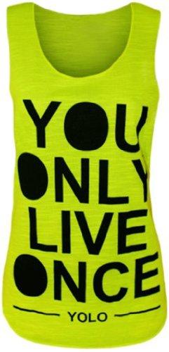 Womens Sleeveless Yolo Vest Top (M8) (4/6 (Uk 8/10), Neon Green)